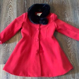 Beautiful Scarlette Red Coat with black fur neck